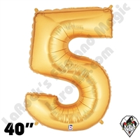 Betallic 40 Inch Number 5 Gold Foil Megaloon Balloon 1ct
