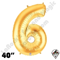 Betallatex 40 Inch Number 6 Gold Foil Megaloon Balloon 1ct