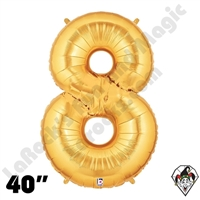Betallic 40 Inch Number 8 Gold Foil Megaloon Balloon 1ct