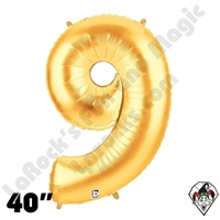 Betallatex 40 Inch Number 9 Gold Foil Megaloon Balloon 1ct