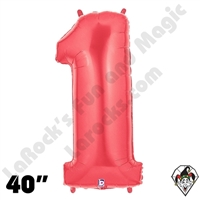 40 Inch Number 1 Red Megaloon Foil Balloon Betallic 1ct