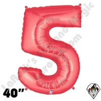 40 Inch Number 5 Red Megaloon Foil Balloon Betallic 1ct