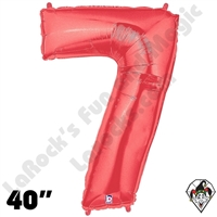 40 Inch Number 7 Red Megaloon Foil Balloon Betallic 1ct