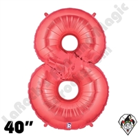 40 Inch Number 8 Red Megaloon Foil Balloon Betallic 1ct