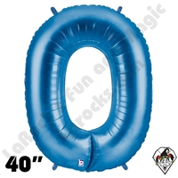 40 Inch Number 0 Blue Megaloon Foil Balloon Betallic 1ct