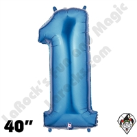 40 Inch Number 1 Blue Megaloon Foil Balloon Betallic 1ct