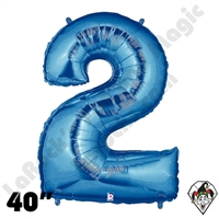 40 Inch Number 2 Blue Megaloon Foil Balloon Betallic 1ct