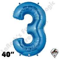 40 Inch Number 3 Blue Megaloon Foil Balloon Betallic 1ct