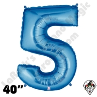 40 Inch Number 5 Blue Megaloon Foil Balloon Betallic 1ct