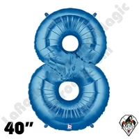40 Inch Number 8 Blue Megaloon Foil Balloon Betallic 1ct