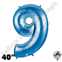 40 Inch Number 9 Blue Megaloon Foil Balloon Betallic 1ct