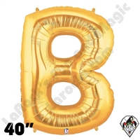 Betallic 40 Inch Letter B Gold Foil Megaloon Balloon 1ct