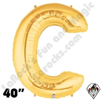 Betallatex 40 Inch Letter C Gold Foil Megaloon Balloon 1ct