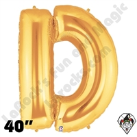 Betallic 40 Inch Letter D Gold Foil Megaloon Balloon 1ct