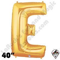 Betallic 40 Inch Letter E Gold Foil Megaloon Balloon 1ct