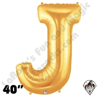 Betallic 40 Inch Letter J Gold Foil Megaloon Balloon 1ct