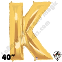 Betallic 40 Inch Letter K Gold Foil Megaloon Balloon 1ct
