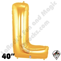 Betallatex 40 Inch Letter L Gold Foil Megaloon Balloon 1ct