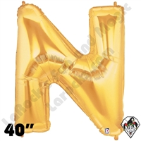 Betallic 40 Inch Letter N Gold Foil Megaloon Balloon 1ct