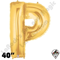 Betallatex 40 Inch Letter P Gold Foil Megaloon Balloon 1ct