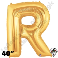 Betallic 40 Inch Letter R Gold Foil Megaloon Balloon 1ct