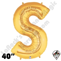 Betallic 40 Inch Letter S Gold Foil Megaloon Balloon 1ct