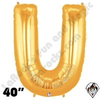 Betallatex 40 Inch Letter U Gold Foil Megaloon Balloon 1ct