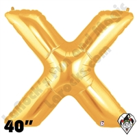 Betallatex 40 Inch Letter X Gold Foil Megaloon Balloon 1ct