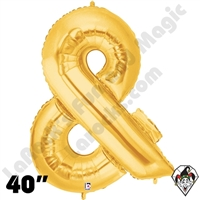 Betallic 40 Inch Ampersand Gold Foil Megaloon Balloon 1ct