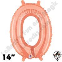 14 Inch Number 0 Rose Gold Megaloon Jr Foil Balloon Betallic 1ct