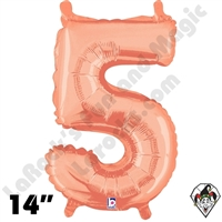 14 Inch Number 5 Rose Gold Megaloon Jr Foil Balloon Betallic 1ct