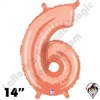 14 Inch Number 6 Rose Gold Megaloon Jr Foil Balloon Betallic 1ct