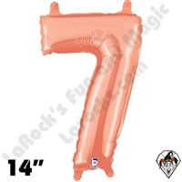 14 Inch Number 7 Rose Gold Megaloon Jr Foil Balloon Betallic 1ct