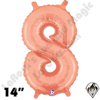 14 Inch Number 8 Rose Gold Megaloon Jr Foil Balloon Betallic 1ct