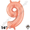 14 Inch Number 9 Rose Gold Megaloon Jr Foil Balloon Betallic 1ct
