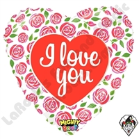 21 Inch Heart Mighty Bright Love Roses Non-Foil Balloon Betallatex 1ct