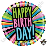 21 Inch Round Mighty Bright Birthday Blast Non-Foil Balloon Betallatex 1ct
