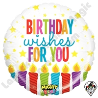 21 Inch Round Mighty Bright Birthday Wishes Non-Foil Balloon Betallatex 1ct