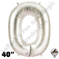 Betallatex 40 Inch Number 0 Silver Foil Megaloon Balloon 1ct