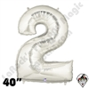 Betallatex 40 Inch Number 2 Silver Foil Megaloon Balloon 1ct