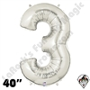 Betallatex 40 Inch Number 3 Silver Foil Megaloon Balloon 1ct