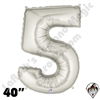 Betallatex 40 Inch Number 5 Silver Foil Megaloon Balloon 1ct