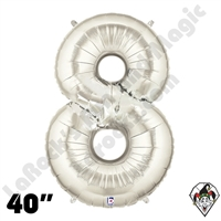 Betallatex 40 Inch Number 8 Silver Foil Megaloon Balloon 1ct