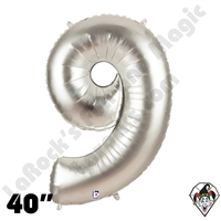 Betallatex 40 Inch Number 9 Silver Foil Megaloon Balloon 1ct
