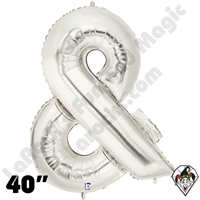 Betallic 40 Inch Ampersand Silver Foil Megaloon Balloon 1ct