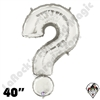 40 Inch Symbol Question Mark Silver Foil Megaloon Balloon Betallatex 1ct