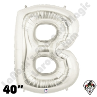 Betallic 40 Inch Letter B Silver Foil Megaloon Balloon 1ct