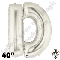 Betallic 40 Inch Letter D Silver Foil Megaloon Balloon 1ct