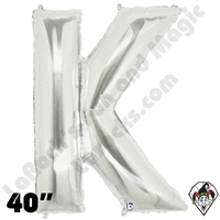 Betallic 40 Inch Letter K Silver Foil Megaloon Balloon 1ct