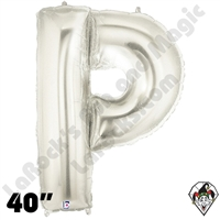 Betallic 40 Inch Letter P Silver Foil Megaloon Balloon 1ct